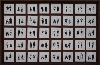 La bacheca, 40 tele 16x16 cm su legno 100x160 cm, 2019