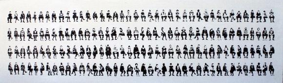 160 seduti, olio su tela 45x150 cm, 2019
