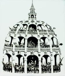la cupola dei tifosi, olio su tela 120x100 cm, 2017