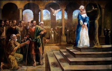una delle 33 opere per la Chiesa della Madonna del Rosario di Pompei- Silla di Sassano (SA)- olio su tela 220x363 cm, 2006